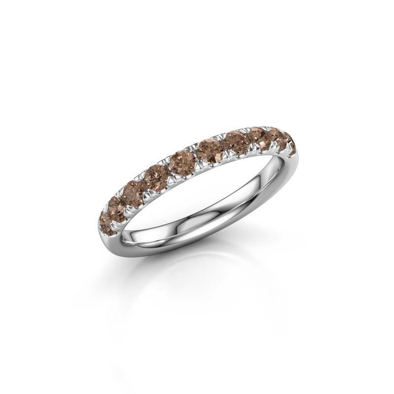 Aanschuifring Jackie Half 950 platina bruine diamant 0.55 crt