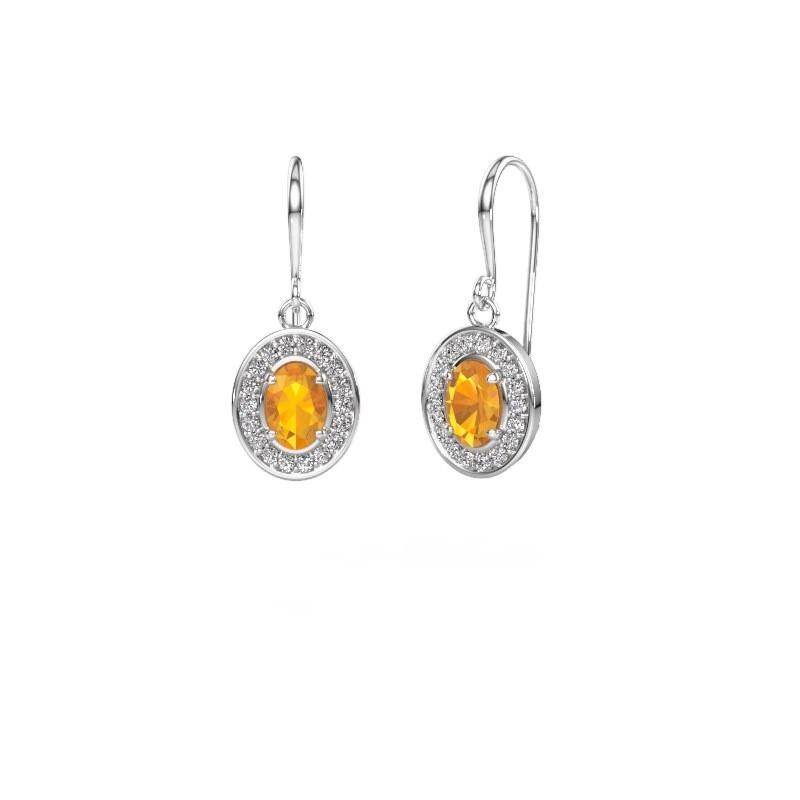 Drop earrings Layne 1 585 white gold citrin 6.5x4.5 mm