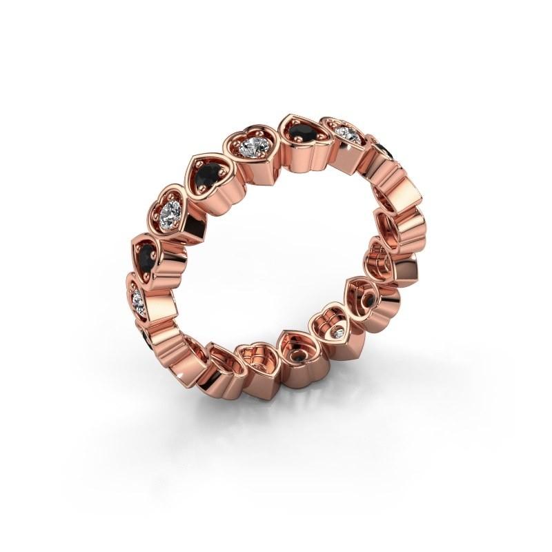 Stackable ring Pleun 375 rose gold black diamond 0.594 crt