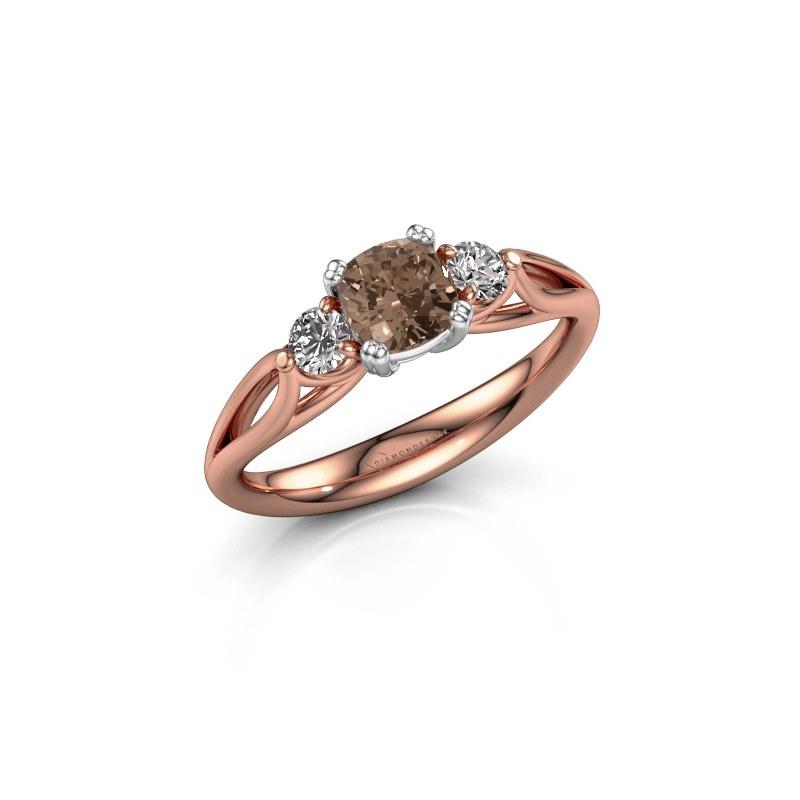 Verlovingsring Amie cus 585 rosé goud bruine diamant 0.70 crt