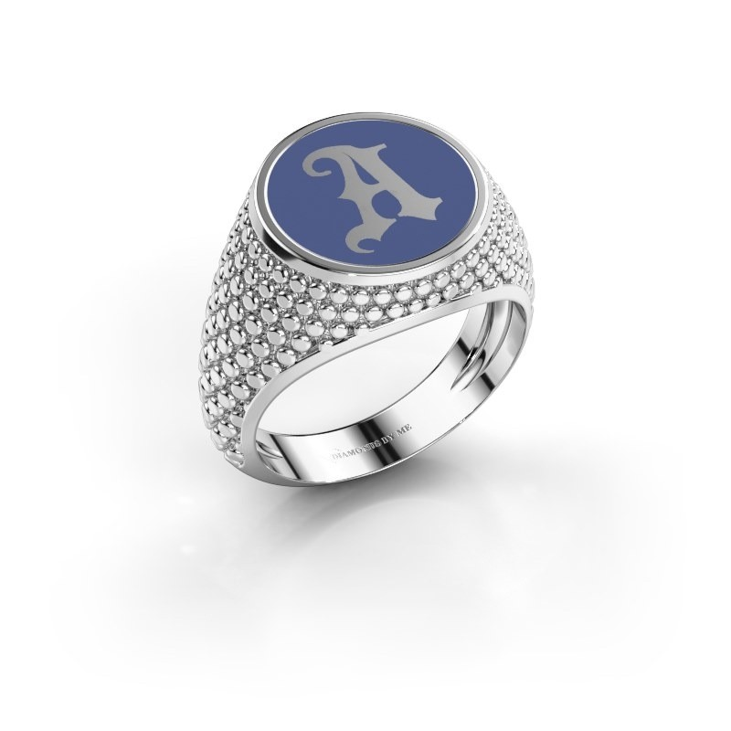 Monogram ring Zachary 375 witgoud blauwe emaille