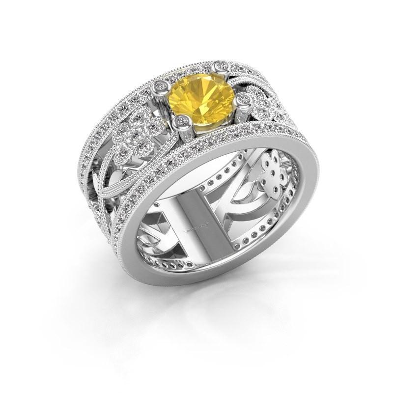 Ring Severine 925 zilver gele saffier 6 mm