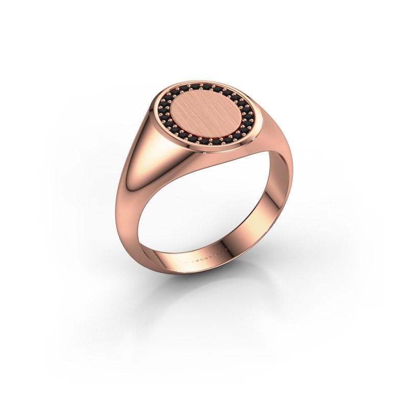 Men's ring Floris Oval 2 375 rose gold black diamond 0.216 crt