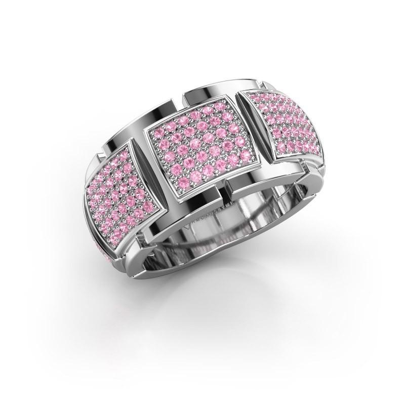 Ring Laura 585 witgoud roze saffier 1 mm