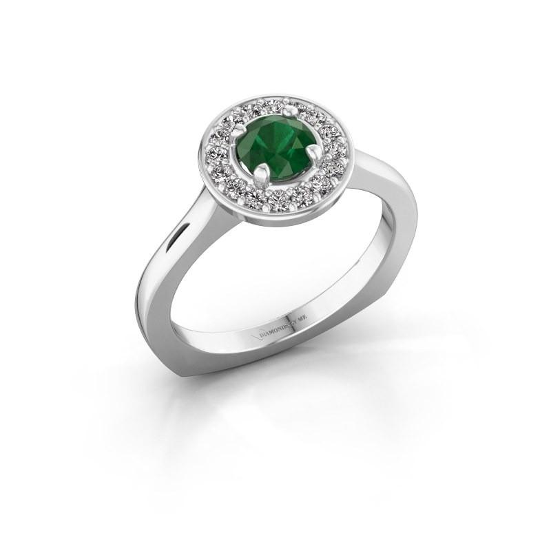 Ring Kanisha 1 585 witgoud smaragd 5 mm