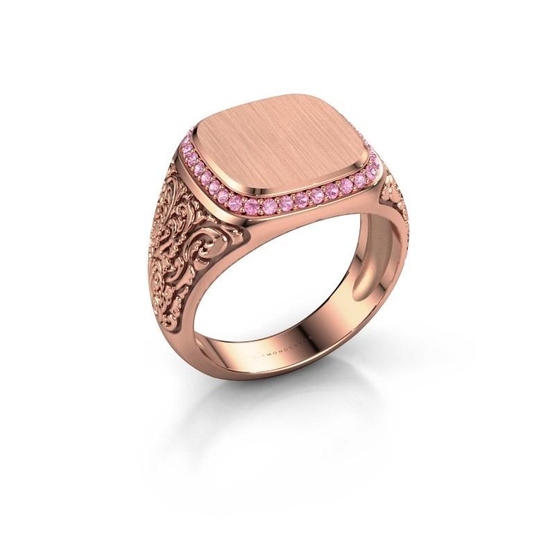 Heren ring Jesse 2 375 rosé goud roze saffier 1.2 mm