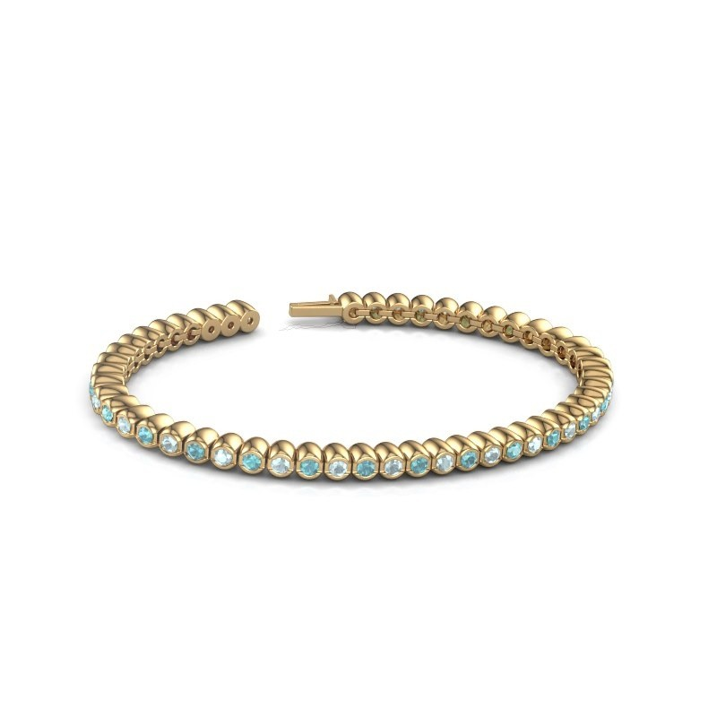 Tennisarmband Patrica 375 goud blauw topaas 2.4 mm