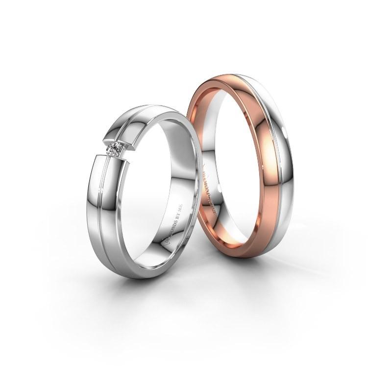 Vriendschapsringen set WH0254LM24XP ±4x1.5 mm 14 karaat rosé goud diamant 0.03 crt
