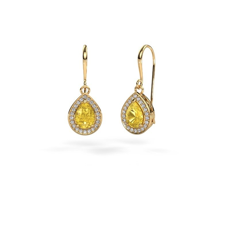 Drop earrings Beverlee 1 375 gold yellow sapphire 7x5 mm
