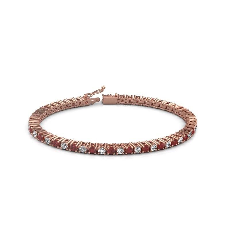 Tennis bracelet Petra 375 rose gold ruby 3 mm