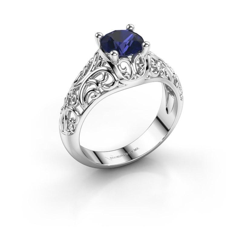 Ring Mirte 925 zilver saffier 6.5 mm
