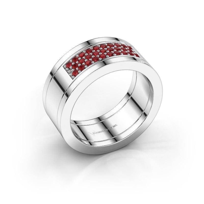 Ring Marita 3 925 zilver robijn 1.3 mm