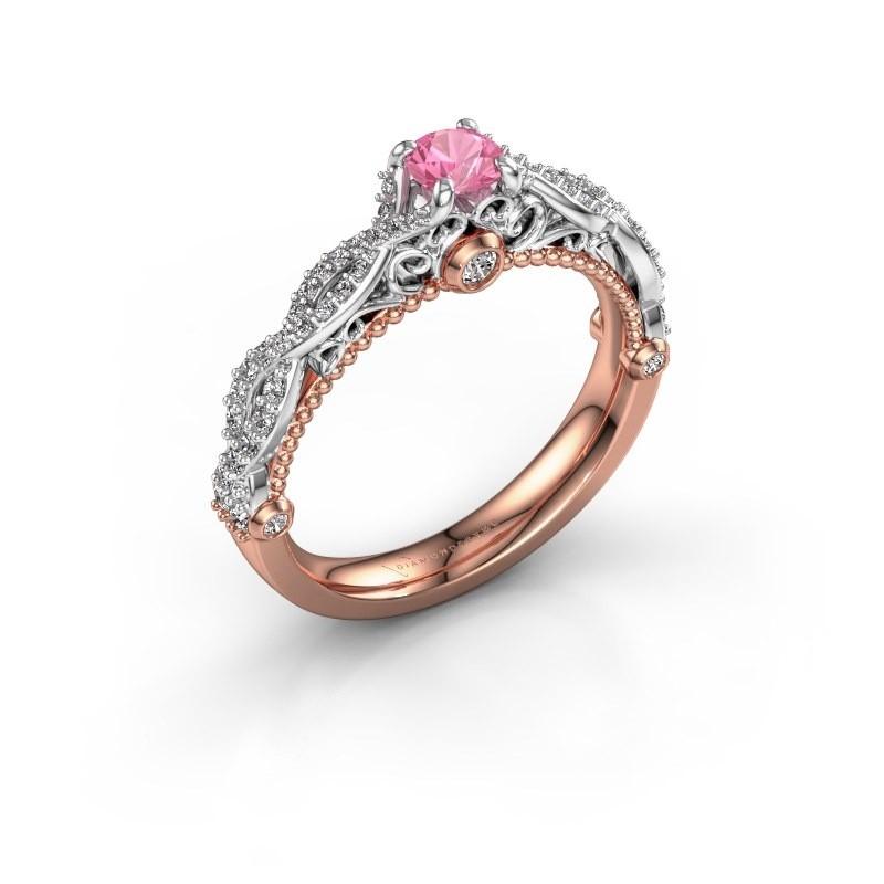 Verlovingsring Chantelle 585 rosé goud roze saffier 4 mm