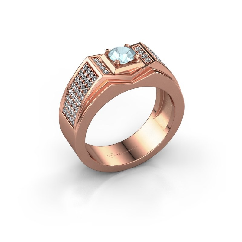 Men's ring Marcel 375 rose gold aquamarine 5 mm