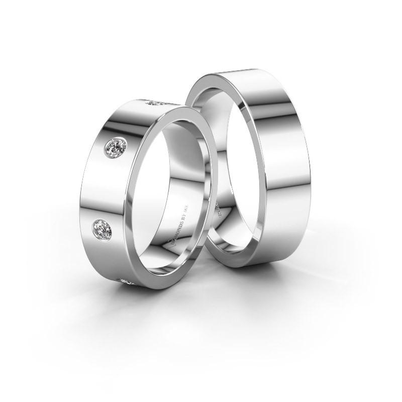 Trouwringen set WH0105LM16BP ±6x2 mm 14 karaat goud diamant 0.385 crt