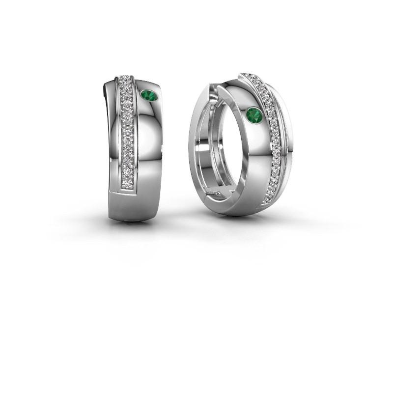Creolen Shakita 585 witgoud smaragd 2 mm