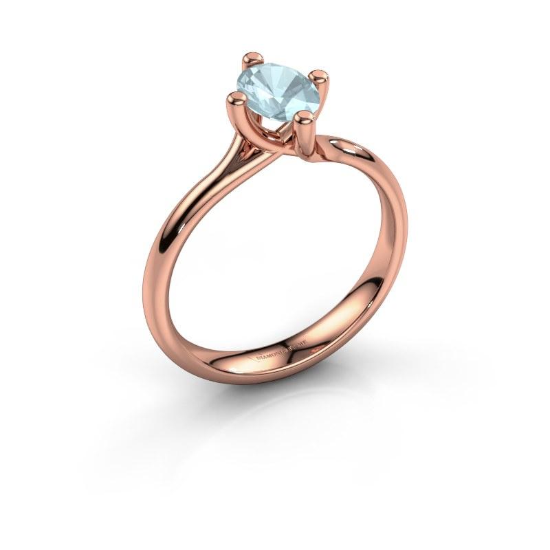 Engagement ring Dewi Oval 585 rose gold aquamarine 7x5 mm