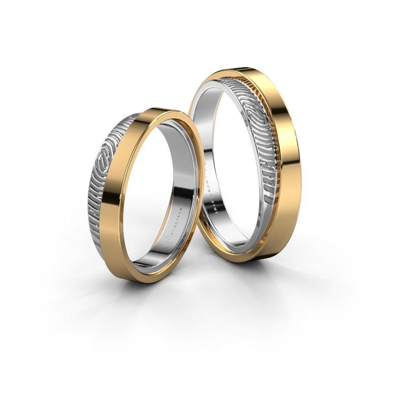 Wedding rings set WHR0426LM ±5x2 mm 14 Carat gold