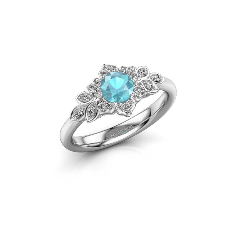 Engagement ring Tatjana 585 white gold blue topaz 5 mm