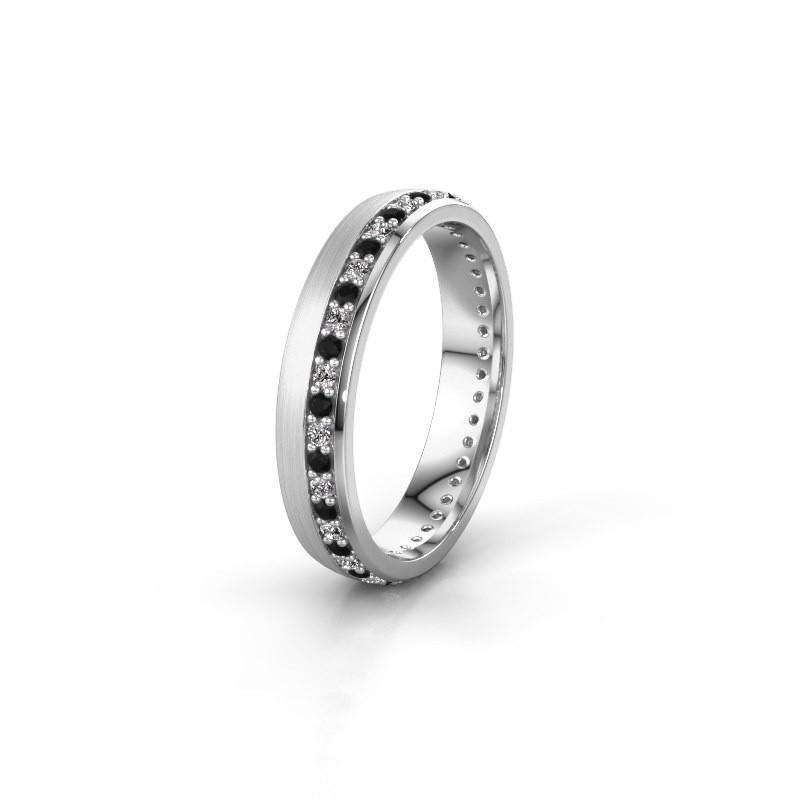 Trouwring WH0303L24AM 950 platina zwarte diamant ±4x1.7 mm