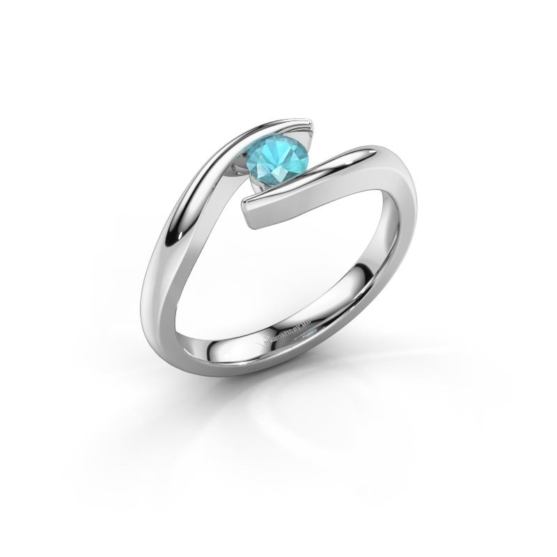 Engagement ring Alaina 585 white gold blue topaz 4 mm