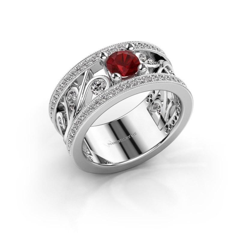 Ring Sanne 585 witgoud robijn 5 mm