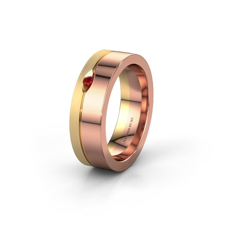 Wedding ring WH0329L16B 585 rose gold ruby ±0.24x0.08 in