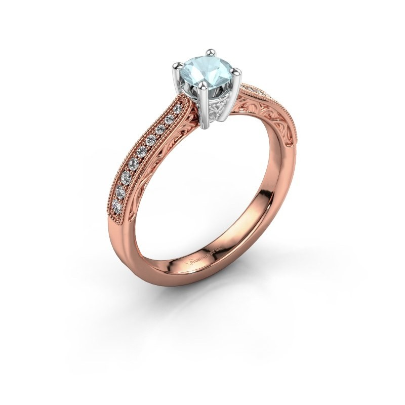 Belofte ring Shonta RND 585 rosé goud aquamarijn 4.7 mm