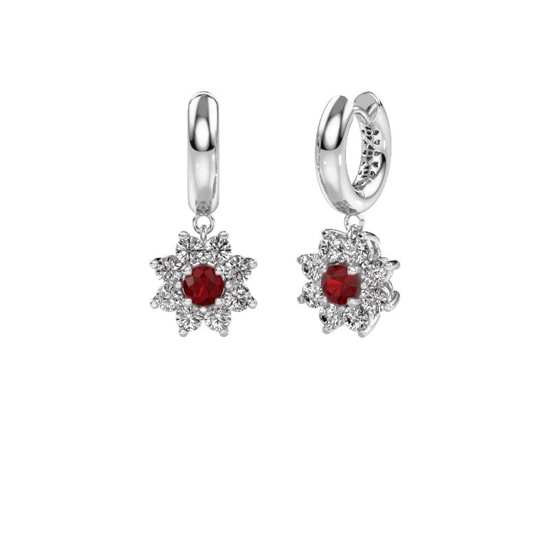Drop earrings Geneva 1 585 white gold ruby 4.5 mm