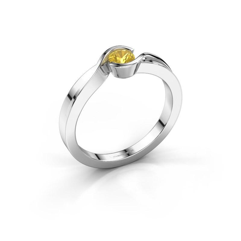 Ring Lola 585 Weißgold Gelb Saphir 4 mm