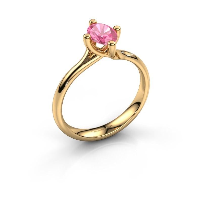 Verlobungsring Dewi Oval 375 Gold Pink Saphir 7x5 mm
