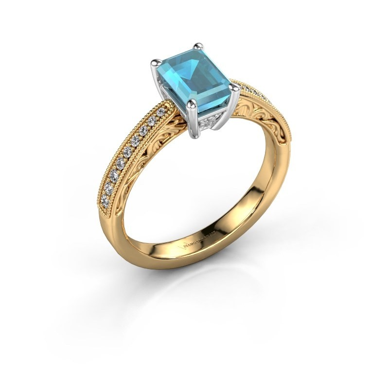 Verlovingsring Shonta EME 585 goud blauw topaas 7x5 mm