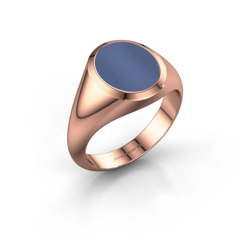 Zegelring Evon 2 375 rosé goud blauw lagensteen 12x10 mm