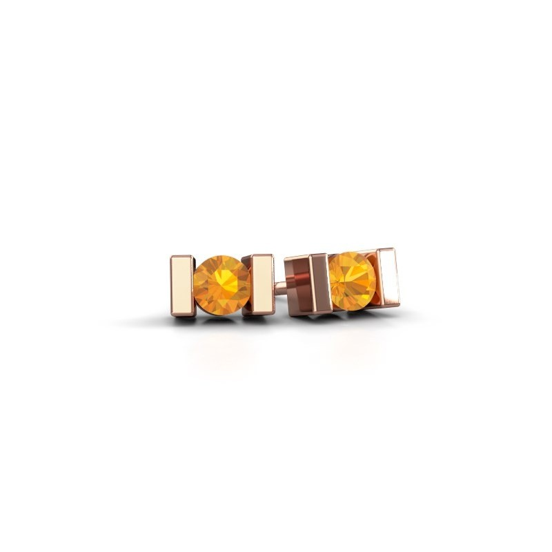 Oorstekers Lieve 375 rosé goud citrien 3.7 mm