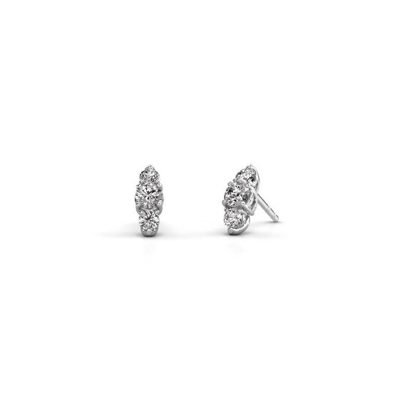 Oorbellen Amie 925 zilver zirkonia 4 mm