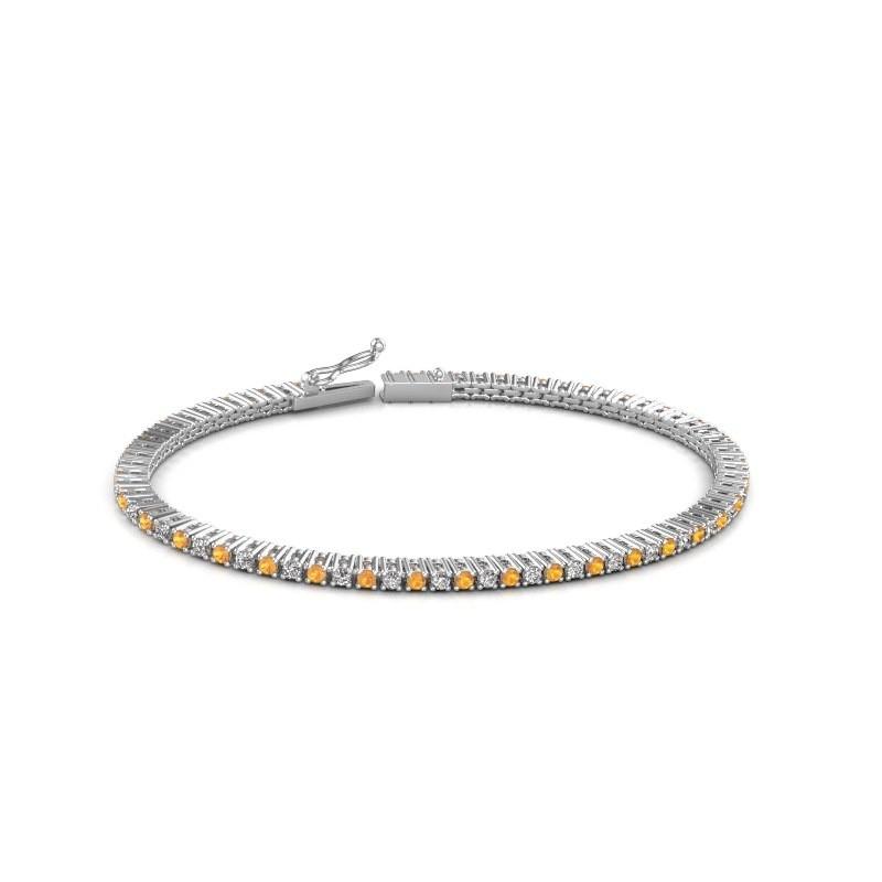 Tennis bracelet Simone 585 white gold citrin 2 mm