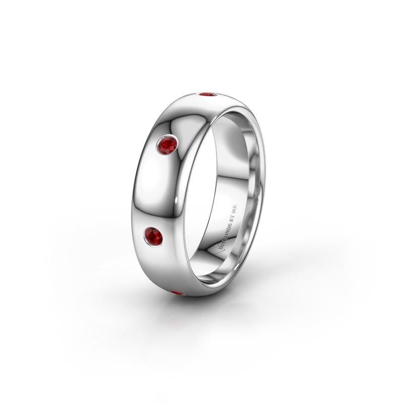 Wedding ring WH0105L36BP 950 platinum ruby ±6x2 mm