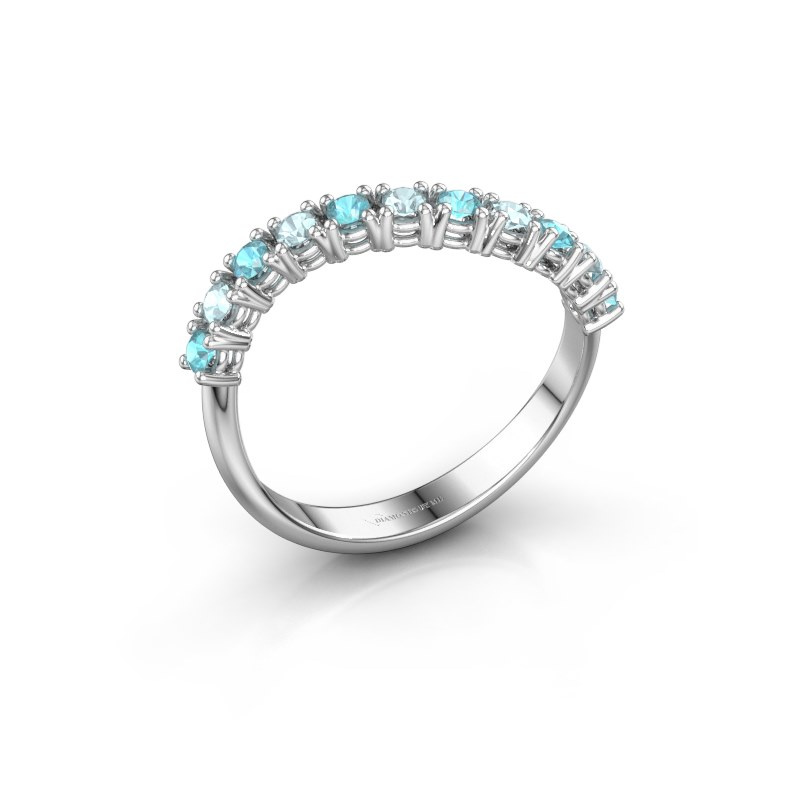 Ring Eliza 585 witgoud blauw topaas 2 mm
