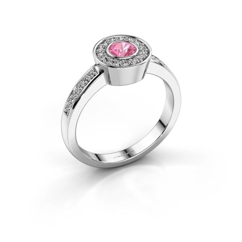 Ring Adriana 2 585 Weißgold Pink Saphir 4 mm