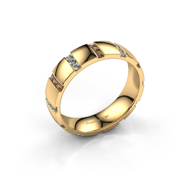Bague de mariage Juul 375 or jaune diamant brun ±5x1.8 mm