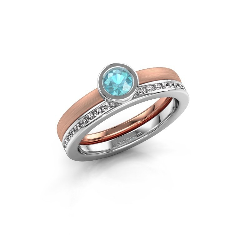Ring Cara 585 rosé goud blauw topaas 4 mm