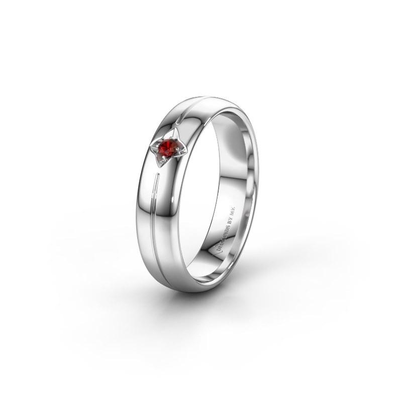Wedding ring WH0221L35X 585 white gold garnet ±0.20x0.06 in