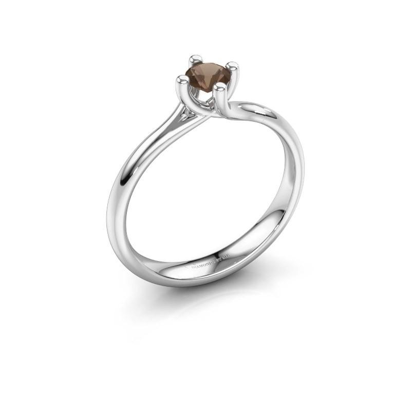 Engagement ring Dewi Round 585 white gold smokey quartz 4 mm