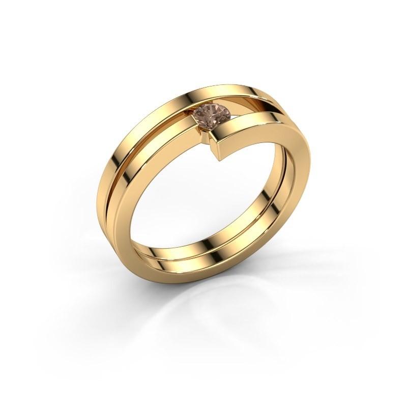 Ring Nikia 585 goud bruine diamant 0.15 crt