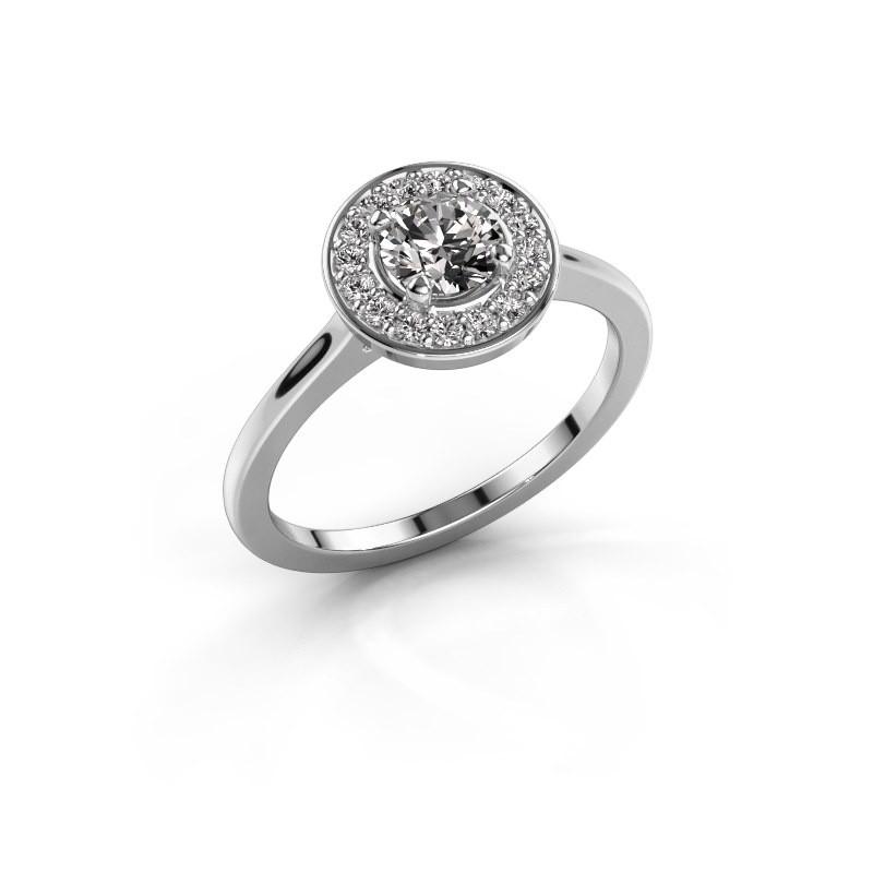 Ring Agaat 1 585 witgoud diamant 0.66 crt