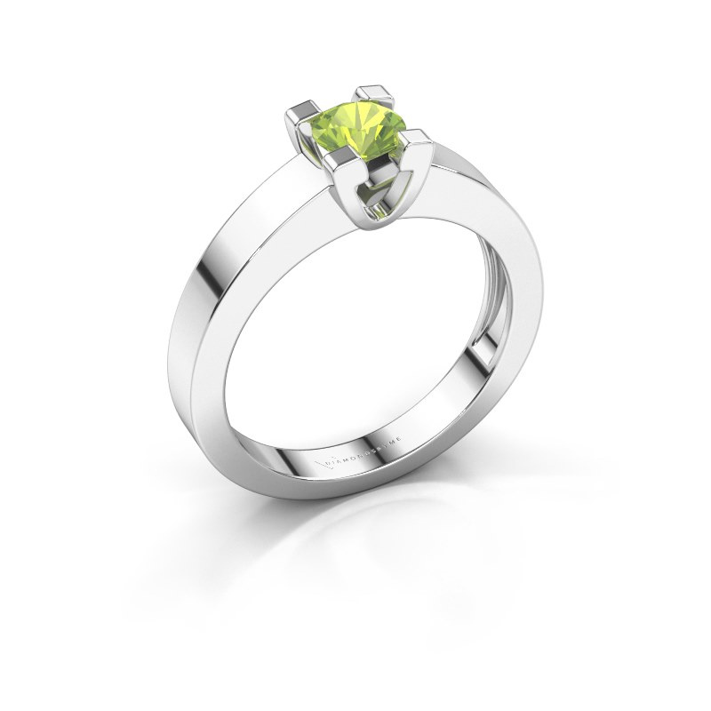 Promise ring Anne 1 585 witgoud peridoot 4.7 mm