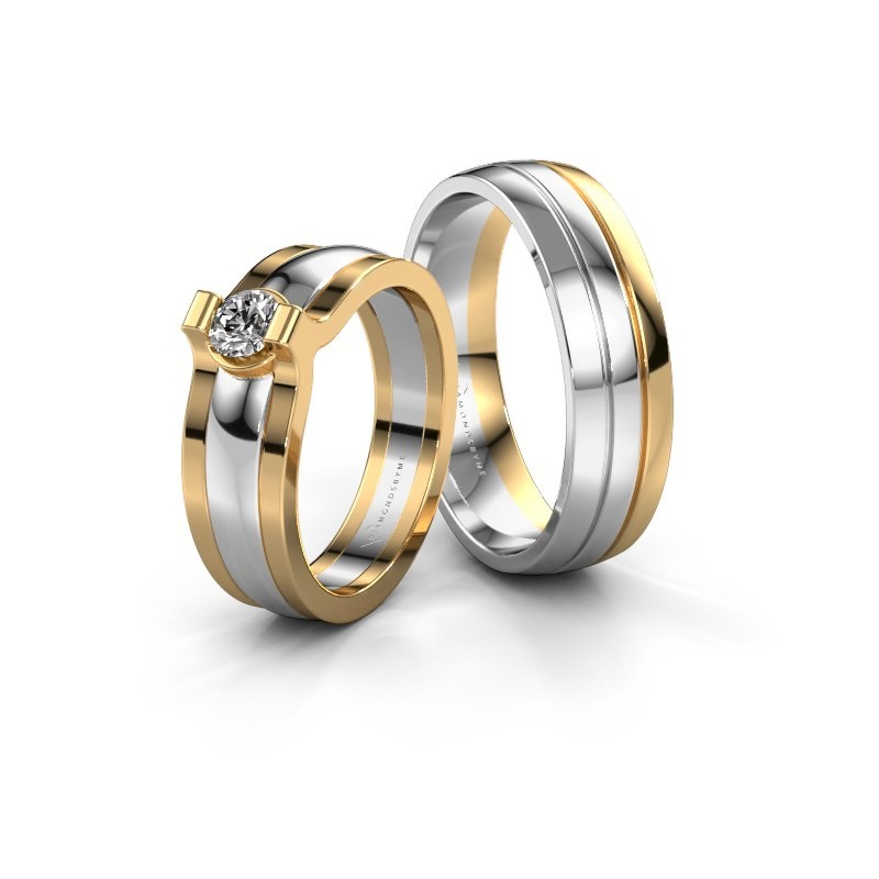 Trouwringen set WHR0036LM26AP ±6x1.7 mm 14 karaat witgoud diamant 0.25 crt