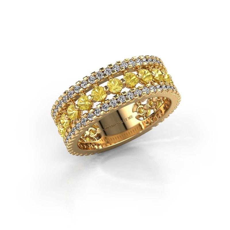 Engagement ring Elizbeth 2 375 gold yellow sapphire 2.4 mm