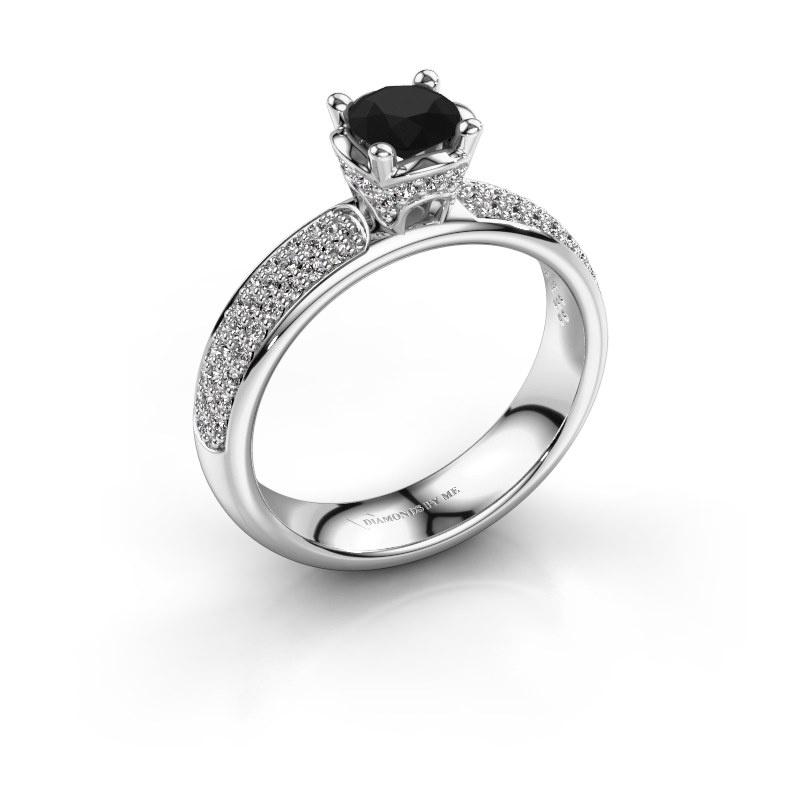 Aanzoeksring Ecrin 950 platina zwarte diamant 1.089 crt