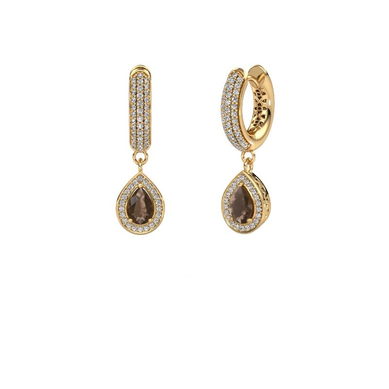 Drop earrings Barbar 2 585 gold smokey quartz 6x4 mm